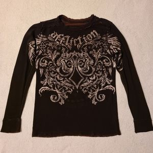 Affliction Reversible Brown Long Sleeve